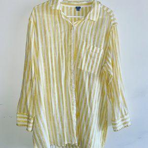 Striped yellow button down shirt